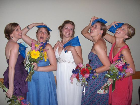 Five women at a wedding with Soft Ice private label hot/cold therapy packs