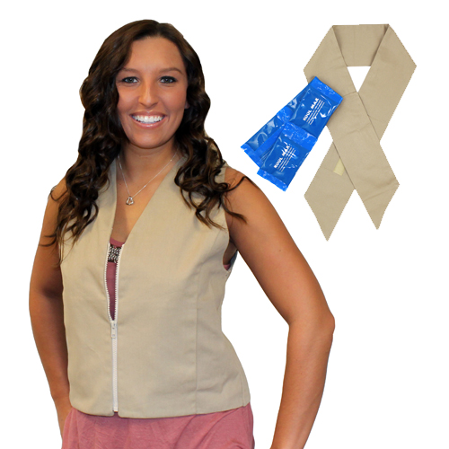 Woman wearing a khaki Womens fashion cooling vest with deluxe neck tie