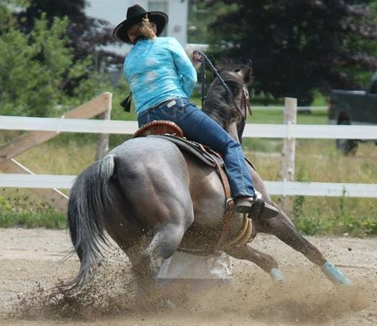 Woman riding a horse wearing a Kool Max adjustable zipper front cooling vest