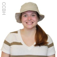 Woman wearing a khaki bucket hat with a cool comfort evaporative cooling insert