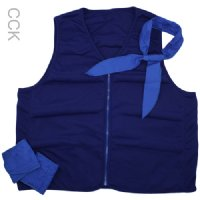 Blue cool comfort evaporative cooling vest, neck wrap and wrist wraps