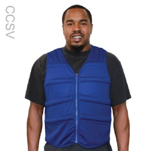 Man wearing a blue cool comfort evaporative cooling vest