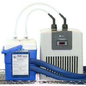 Water chiller system connected to cool flow circulating water cooler with 4 feet of insulated tubing