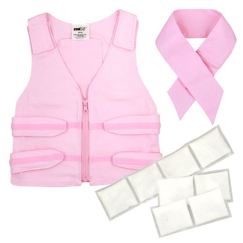 Pink Cool Kids Toddler cooling vest and neck wrap with Cool58 3 x 12 inch and two 3 x 6 inch phase change cooling packs