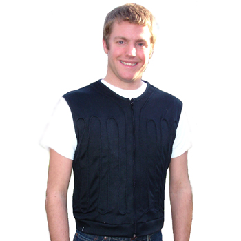 Man wearing a blue cool flow fitted circulating water cooling vest