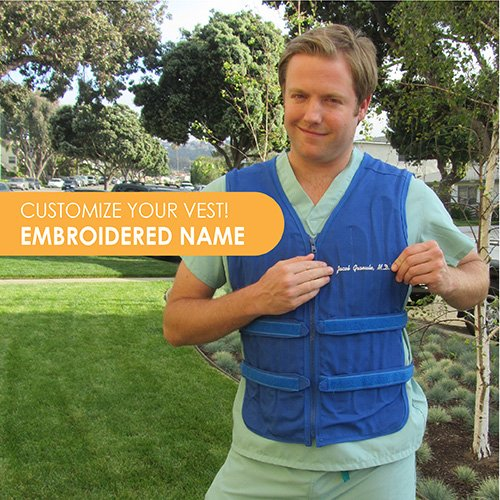 Man wearing Cool Flow adjustable cooling vest with embroidery