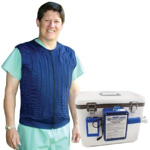 Man in hospital scrubs wearing a blue cool flow circulating cold water cooling vest with cool flow cooler