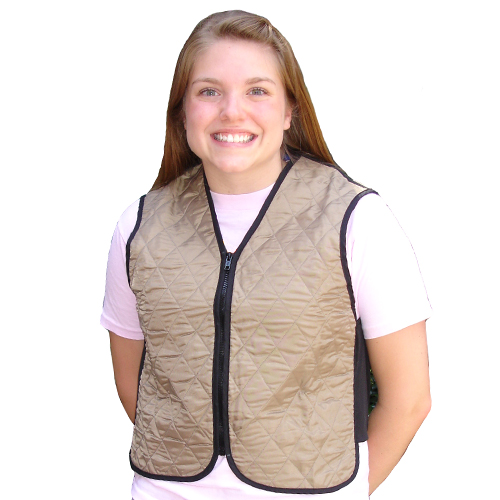 Woman wearing a khaki evaporative cooling vest
