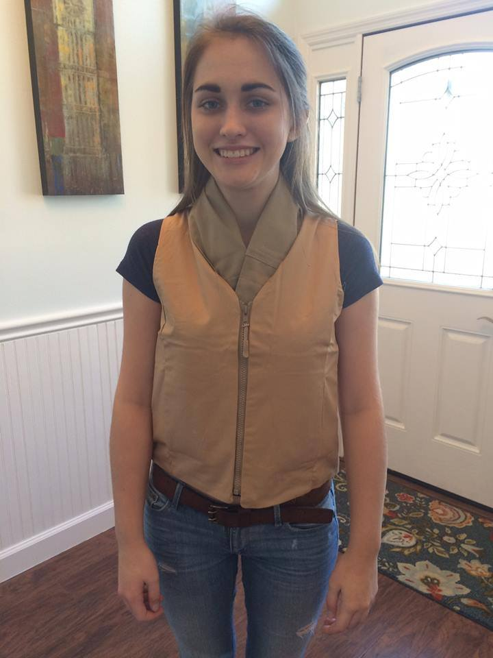 Girl wearing a khaki Cool Teens Girls Fashion cooling vest