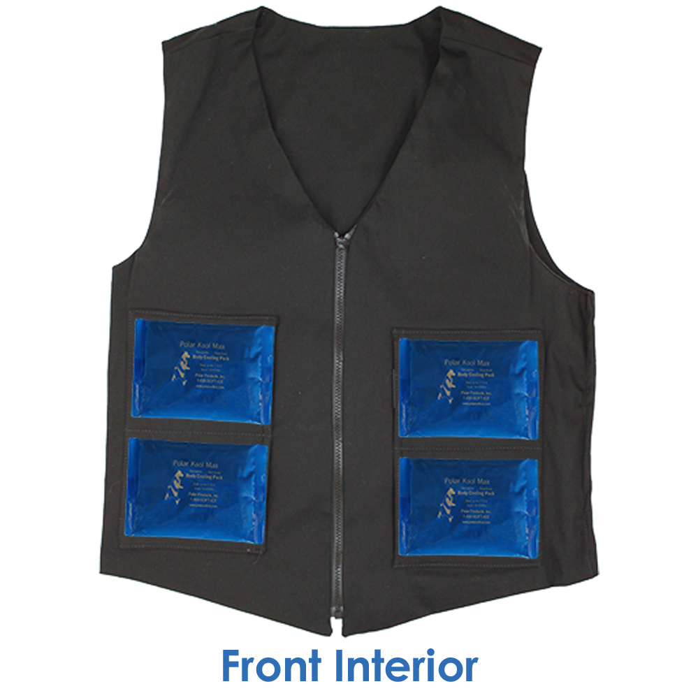 Front interior of Kool Max men's fashion cooling vest with four pack pockets and four 4.5 x 6 inch kool max cooling packs