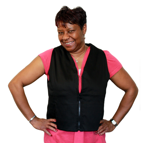 Woman wearing a black women's fashion cooling vest