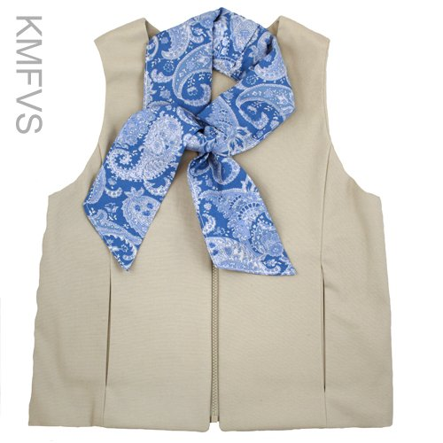 Khaki women's fashion cooling vest with blue fashion scarf