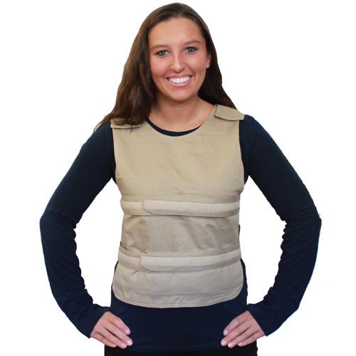 Woman wearing a khaki Kool Max poncho cooling vest