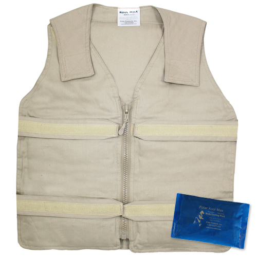 Khaki Kool Max adjustable zipper front vest with a Kool Max 4.5 x 6 inch cooling pack