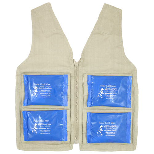 Front interior of a M/L Kool Max zipper front vest with four pack pockets and four 4.5 x 6 inch Kool Max cooling packs
