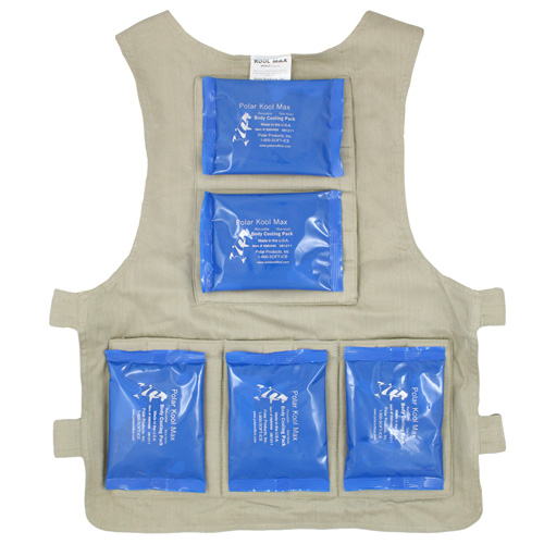 Back interior of a M/L Kool Max zipper front vest with five pack pockets and five 4.5 x 6 inch Kool Max cooling packs