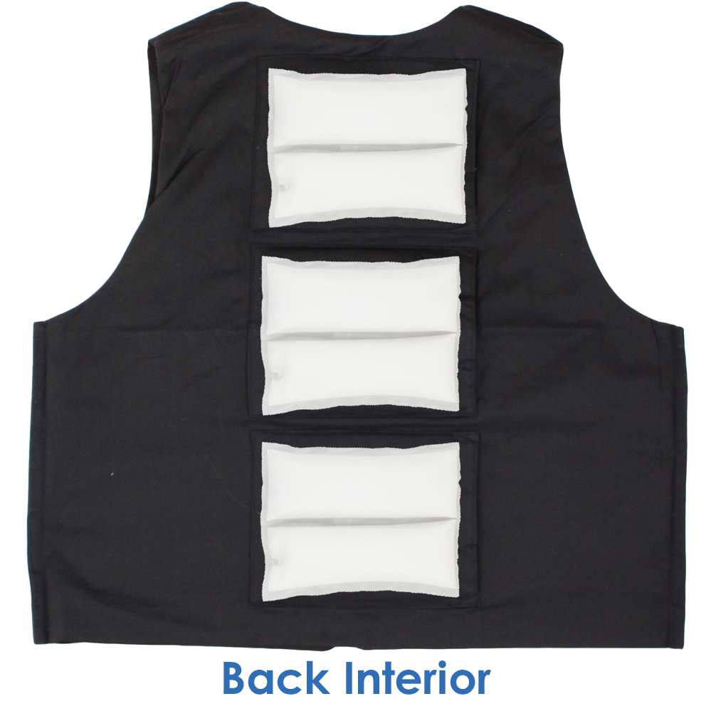 Back interior of Cool58 women's fashion vest with three pack pockets and three 4.5 x 6 inch Cool58 phase change cooling packs
