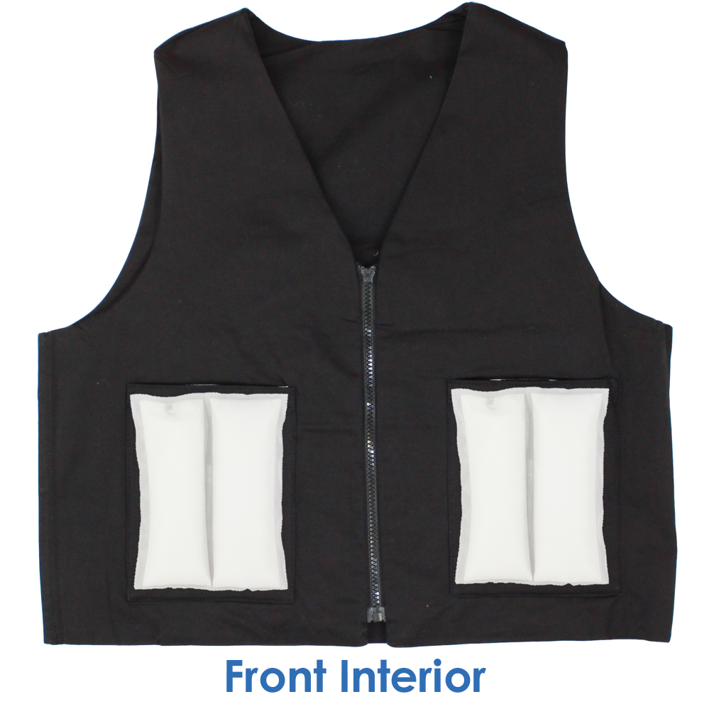 Front interior of Cool58 women's fashion vest with two pack pockets and two 4.5 x 6 inch Cool58 phase change cooling packs
