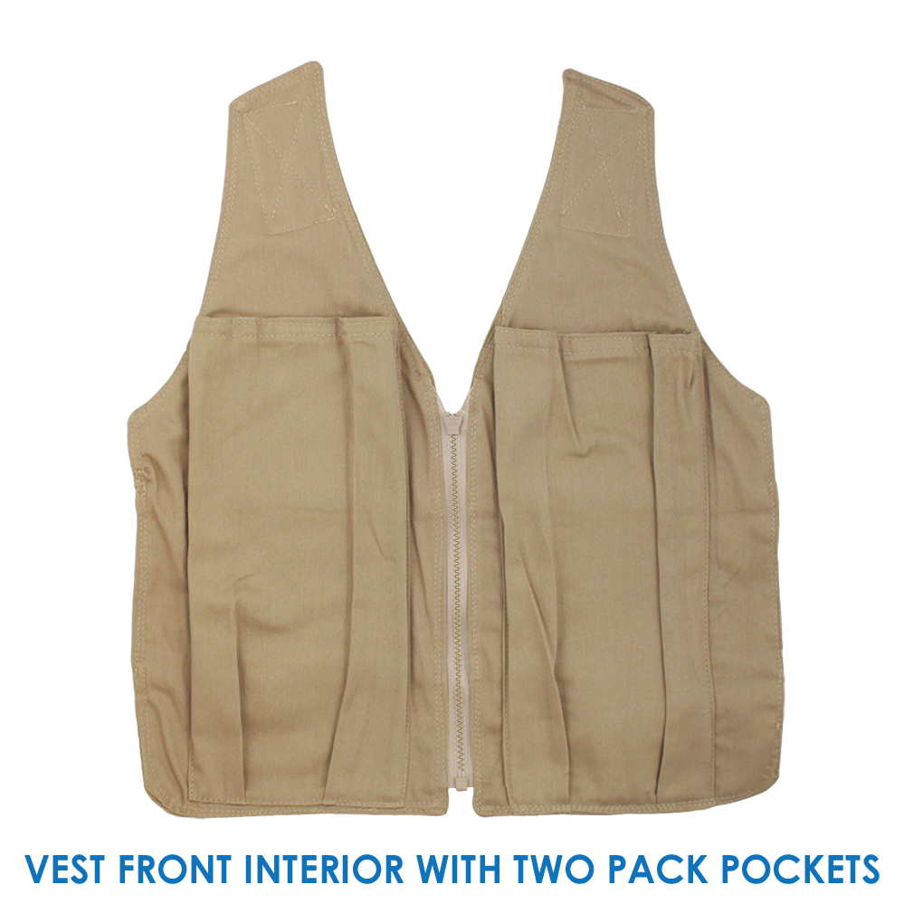 Front interior of a Cool58 adjustable phase change vest with two pack pockets
