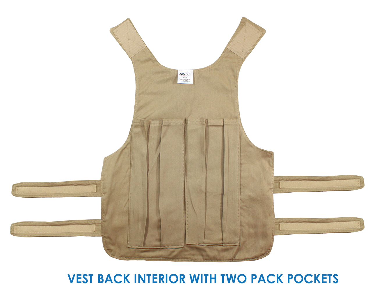 Back interior of a Cool58 adjustable phase change vest with two pack pockets