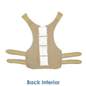 Back interior of phase change cool kids toddler cooling vest with one 3 x 12 inch cool58 cooling pack