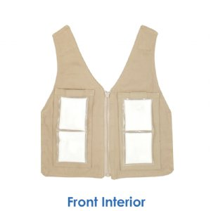 Front interior of phase change cool kids toddler cooling vest with two 3 x 6 inch cool58 cooling packs
