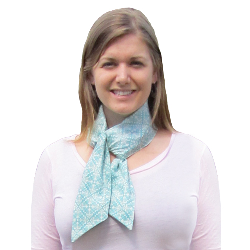 Woman wearing turquoise fashion scarf