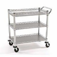Three tier wheeled metal cart